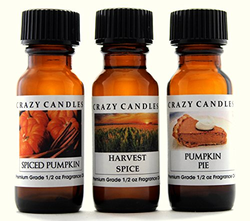 Crazy Candles 3 Bottles Set, 1 Spiced Pumpkin, 1 Harvest Spice, 1 Pumpkin Pie 1/2 Fl Oz Each (15ml) Premium Grade Scented Fragrance Oils By ()