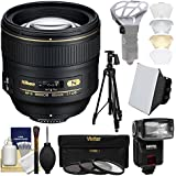 Nikon 85mm f/1.4 G AF-S Nikkor Lens iTTL Flash + Soft Box + Bouncer + Pistol-Grip Tripod + 3 Filters Kit