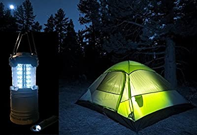 Camping Lantern with Free Flashlight LED - Brightest LED Lantern - Powerful 30 LEDs - Water Resistant - Great for Outdoors, Hiking or Emergency Light - includes Bonus Ultra Bright LED Flashlight with Bottle Opener