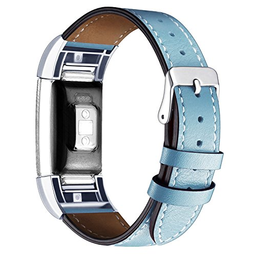Watch Denim Stone (Wishesport For Fitbit Charge 2 Bands Leather Replacement Bands Accessory Classic Genuine Leather Wristband With Metal Connectors Fitness Strap for Charge 2 Stone Blue)