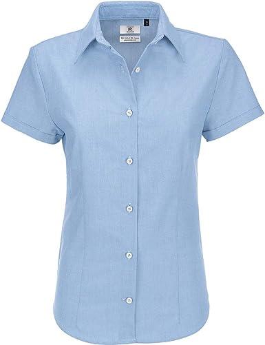 B&C- Camisa de Manga Corta Oxford para Mujer: Amazon.es: Ropa y accesorios