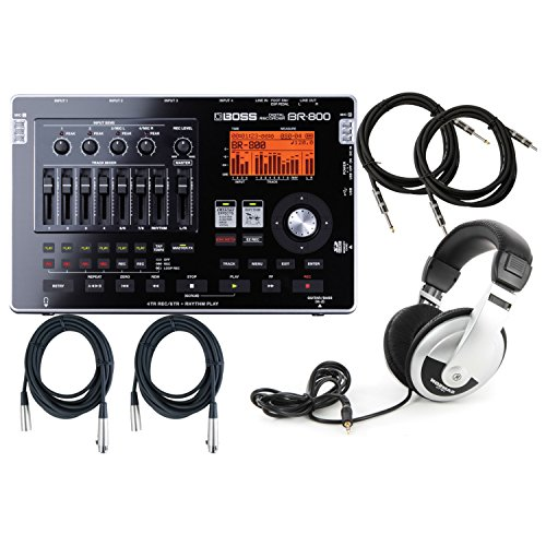 Boss BR 800 Digital Recorder w/2 Free 10' Inst. Cables, 2 20' XLR Cables, and ATHM2X Headphones (Studio Boss Recording)