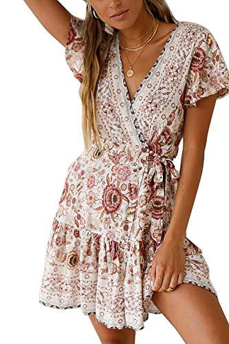 b5859b363a3 Asskdan Women s V-Neck Floral Print Short Sleeve Boho Dress Party Evening  Beach Mini Tunic