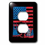 3dRose Uta Naumann Flags of the World - USA American Colorful Flag Stars and Stripes-Patriotic Banner Black - Light Switch Covers - 2 plug outlet cover (lsp_269003_6)