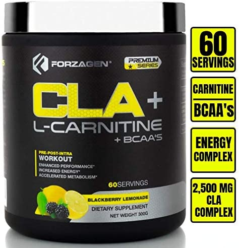 Forzagen Cla + L Carnitine + Bcaa Powder - Bcaas Amino Acids with Cla Powder Increase Energy Free Caffeine Pre Workout | Morning Recovery | 60 Servings | Keto Burn | Premium Cla Supplements
