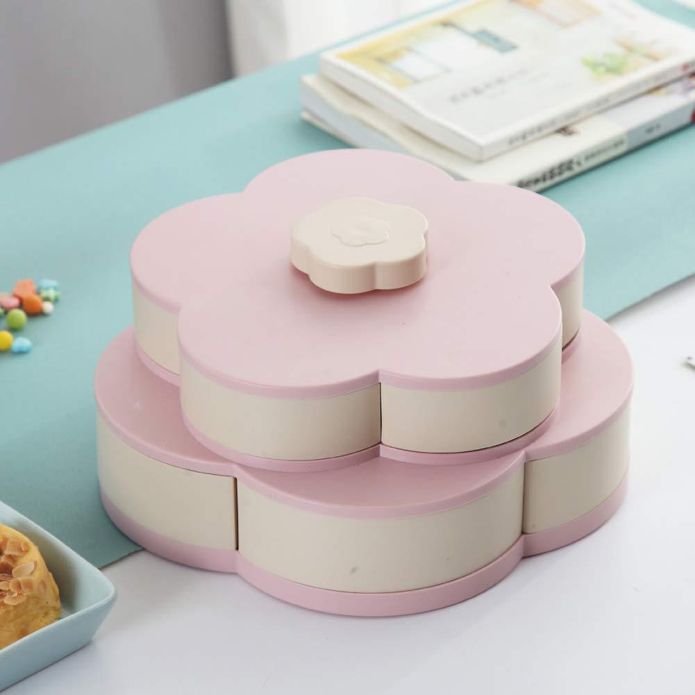 Delleu Bl/üte rotierende Snack Box Flower Design Lebensmittel Aufbewahrungsbox Schmuck Organizer Doppelschicht rotierende Obstteller Snack Aufbewahrungstablett