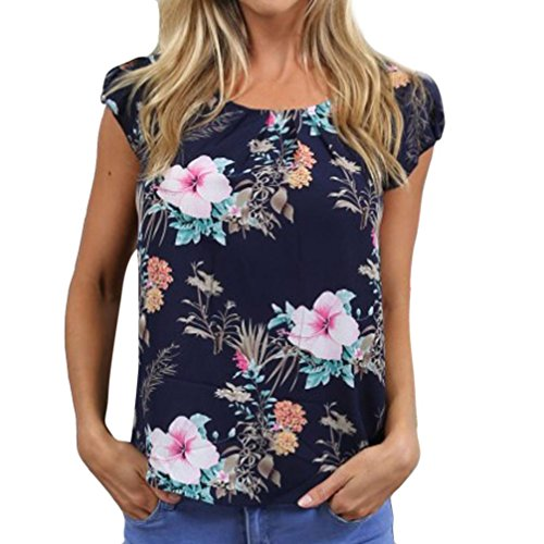 (iYYVV Womens Short Sleeve Fashion Floral Printed Casual T-Shirt Blouse Tops)