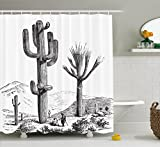 Ambesonne Cactus Decor Shower Curtain, Sketchy Hand Drawn Print of Desert Plants with Mexican Travellers Image, Fabric Bathroom Decor Set with Hooks, 84 inches Extra Long, Charcoal Grey