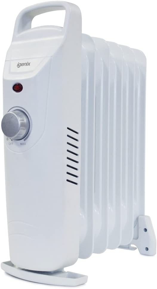 Igenix IG0500 Mini Oil Filled Radiator, Electric Heater with Adjustable Thermostat, Carry Handle, Leak-Free, Overheat Protection, 600 W, White