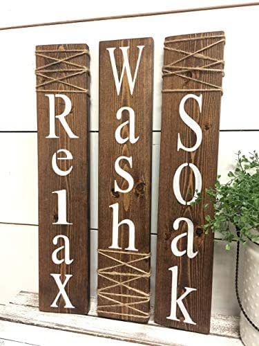 Amazon.com: Wash Relax Soak Wood Signs Rustic Bathroom ...