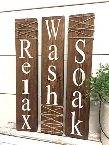 Amazon Com Wash Relax Soak Wood Signs Rustic Bathroom Signs Farmhouse Wall Decor Handmade