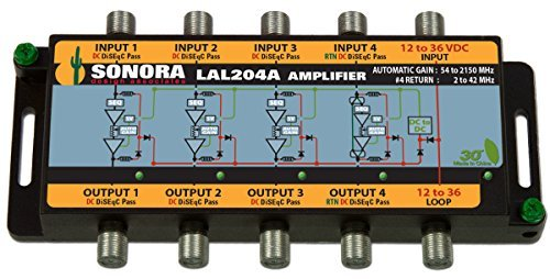 - LAL204A-T DBS,OTA,CATV, 54 to 2400 MHz line powered (4) coax amplifier with forward automatic gain and passive sub-band 2 to 42 MHz return, with power supply