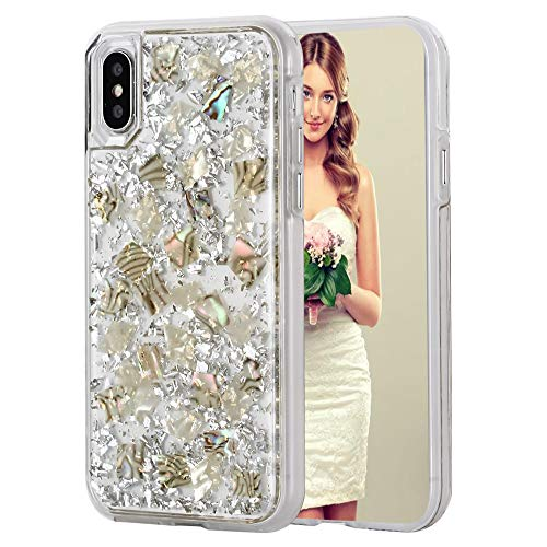 iPhone 8 Case, iPhone 7 Case, Inkomo Women Luxury Fashion Glitter Shells Foil Sparkle Hard Back Cover with Clear TPU Bumper Protective Phone Bling Case for iPhone 8 / iPhone 7 / 6s / 6 4.7'' (Silver)