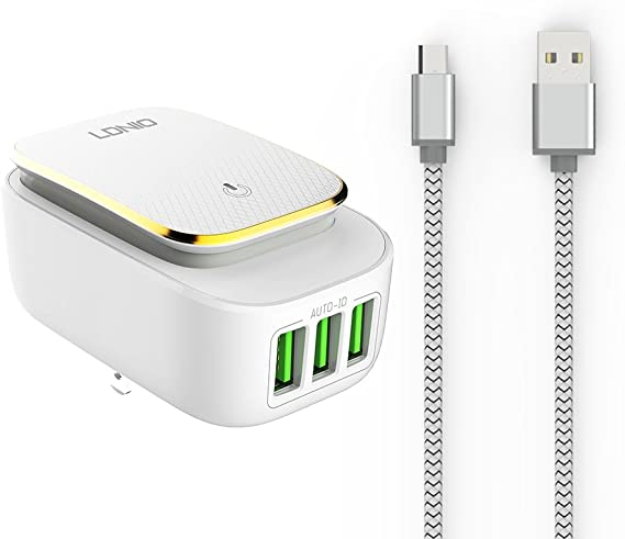 LDNIO 3 Ports Travel Charger with Auto ID Technology Wall Adapter USB for Samsung Galaxy S7/S6/S5 Edge Android Cable US