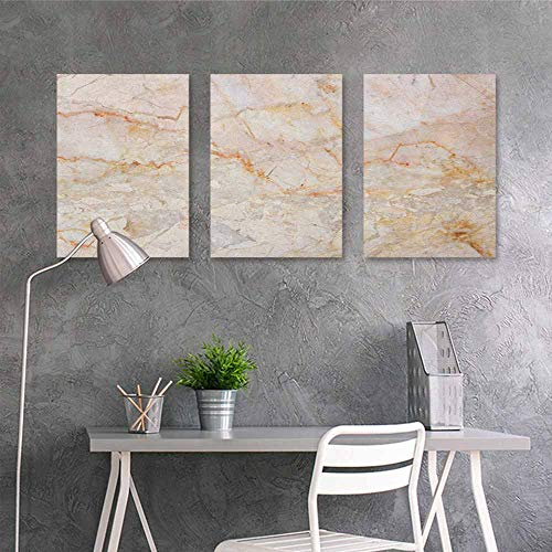 - HOMEDD Canvas Print Artwork Sticker,Marble Mine Pattern Design Natural Fractures Realistic Stained Surface Art Print,On Canvas Abstract Artwork 3 Panels,16x24inchx3pcs Orange Sand Brown