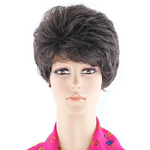 Short Brown Wig Curly Costume (KOLIGHT 11'' Brown Fluffy Short Curly Women Oblique Fringes Hair Extensions Wig Costume Wigs Free Cap+)