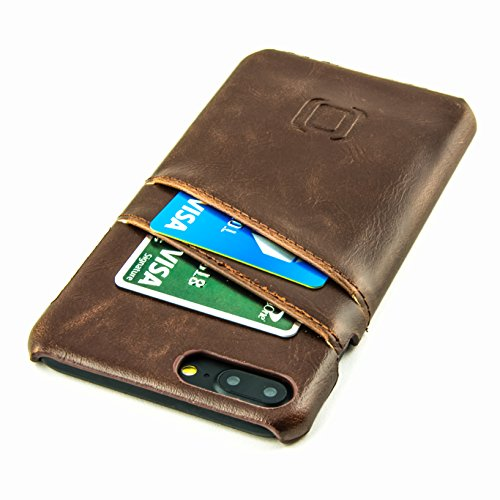 - Dockem Wallet Case for iPhone 8 Plus and 7 Plus - Minimalist Vintage Synthetic Leather Card Case, Ultra Slim Professional Executive Snap On Cover with 2 Card Holder Slots, Brown