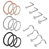 JNINIA Nose Rings-17pcs Nose Rings 20G Stainless Steel L shaped Nose Studs Nose Rings Studs 1.5/2/2.5/3mm
