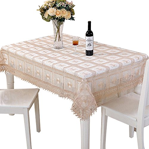 BeautiLife Vintage Lace Floral Tablecloth Oval Embroidered Table Linen for Party,Wedding (Vintage Embroidered Linen)