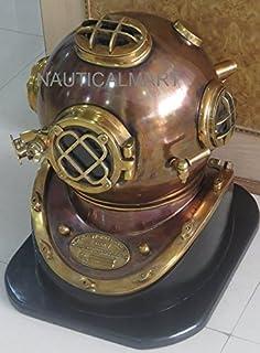 NAUTICAL MART Nautique Mart Vintage Plongée Casque de Plongée en cuivre Antique US Navy Mark V Casque Laiton avec Base