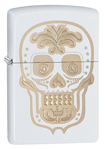 Zippo Sugar Skull White Matte Pocket Lighter