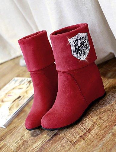 Uk8 us10 Rojo Xzz Cn43 Negro 5 Zapatos Punta Tacón Marrón La Mujer 5 A Black Moda Botas De 5 Vestido Eu42 Redonda us10 Cuña Brown Vellón ZTwpRrZAq