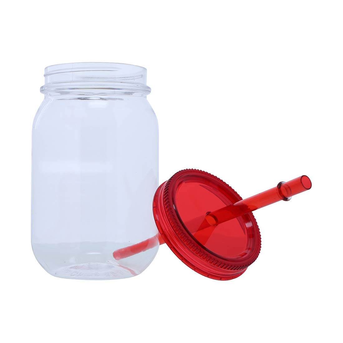 Plastic Retro Look Mason Jar With Straw Set of 2-Mix