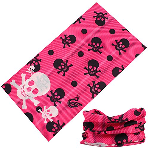 Neon Pink Skulls and Crossbones Face Gaiter Neck Tube Mask Motley Tubular Ski Bandana Dust, Sun Blocking Scarf Disguise Costume (Neon Skull And Crossbones)