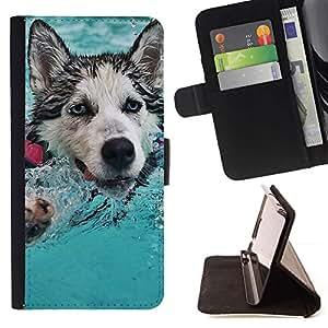 Momo Phone Case / Flip Funda de Cuero Case Cover - Feliz Husky;;;;;;;; - Samsung Galaxy S4 IV I9500