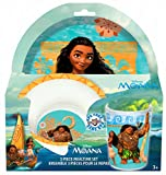 Disney Moana 3-Piece Mealtime Set with Plate, Bowl and Tumbler - Melamine Dinnerware Set for Kids - Dishwasher Safe, Break Resistant and BPA Free