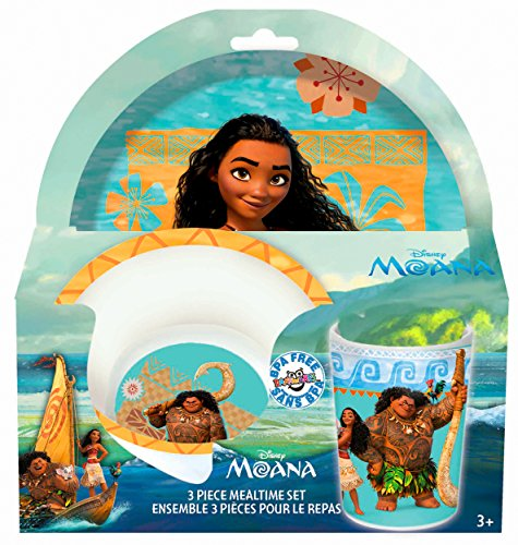 Disney Moana 3-Piece Mealtime Set with Plate, Bowl and Tumbler - Melamine Dinnerware Set for Kids - Dishwasher Safe, Break Resistant and BPA - 3 Child Piece Set Dinnerware