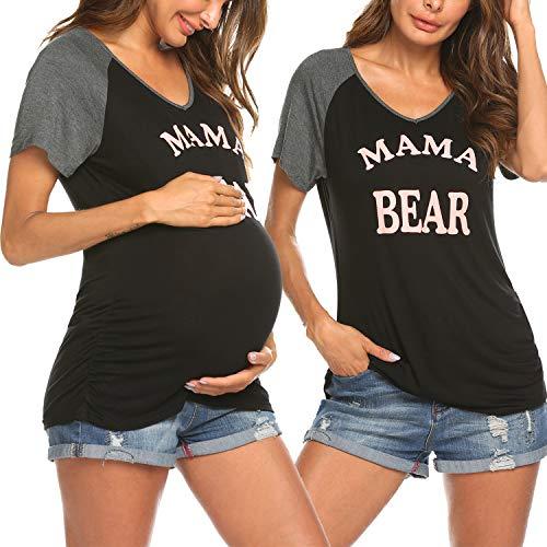 Ekouaer Maternity Shirts Mama Bear Funny Pregnancy Top V Neck Novelty Gift ()