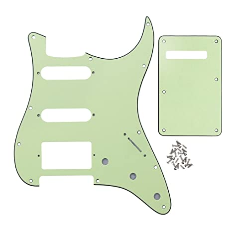IKN Strat SSH Guitar Pickguard 11 Agujeros Scratchplate y ST Parte trasera Plate Tremolo con tornillos