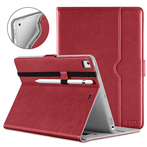 - DTTO New iPad 9.7 Inch 5th/6th Generation 2018/2017 Case with Apple Pencil Holder, Premium Leather Folio Stand Cover Case for Apple iPad 9.7 inch, Also Fit iPad Pro 9.7/Air 2/Air - Red(Grey Lining)
