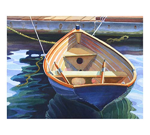 Mimi Hegler Blue Boat, a Nicely Painted Wooden Rowboat, 15 X 19 Inches