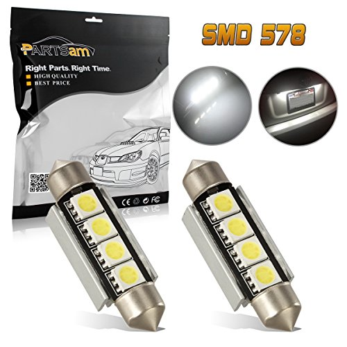 Partsam 2X White 42MM Festoon Bulbs 5050 Dome Map Light Canbus No Error 211-2 561 578