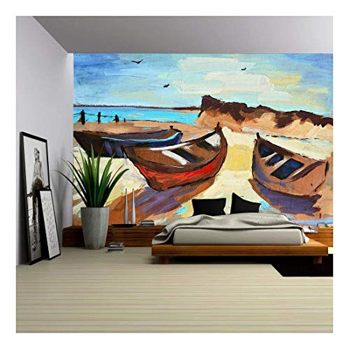 wall26 - Hand-Draw Painting in Gouache. Marine Landscape - Removable Wall Mural | Self-Adhesive Large Wallpaper - 100x144 inches