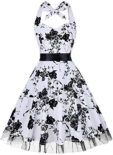 OTEN Women's Floral Vintage 1950s Halter Rockabilly Gown Cocktail Party Dress, Small, White+Black Floral ()