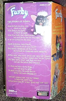 FURBY ~ 1998 Electronic Toy - BLACK, BROWN EYES, PINK EARS, WHITE FEET