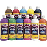 Colorations Simply Washable Tempera Paint - 16 oz. Set of 11 Colors (Item # SWT16)