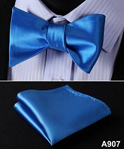 A907 100/%Silk Jacquard Woven Men bow tie Wedding Butterfly Self Bow Tie Pocket Square Handkerchief BowTie Set