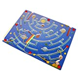 MonkeyJack Kids Wooden Toy Magnetic Maze Nine Planets Pen Labyrinth Educational Puzzle Party Games