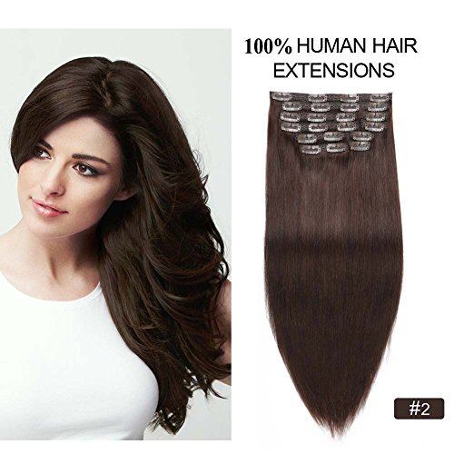 """Beauty : Clip on Extensions Human Hair, Re4U 16inch 130g Dark Brown Remy Human Hair Full Head Double Weft Clip in Hair Extensions for Women Fashion (16"""" 10pcs 130oz #2 Dark Brown)"""