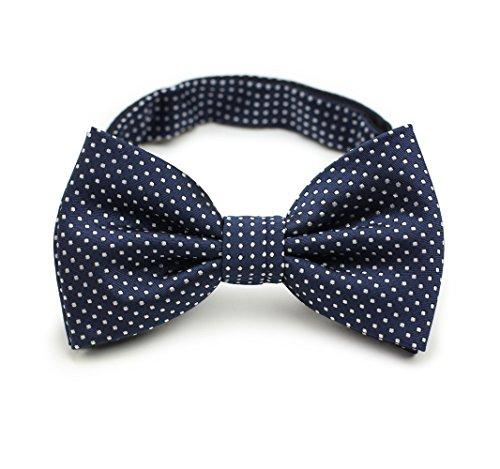 Bows-N-Ties Men's Pre-Tied Bow Tie Pin Dot Microfiber Adjustable Satin Bowtie (Dark Navy)