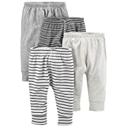 Simple Joys by Carter's Baby 4-Pack Pant, Gray/Gray Stripe, 3-6 Months