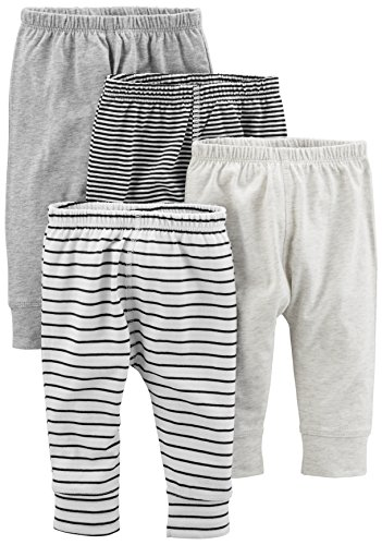 Simple Joys by Carter's Baby 4-Pack Pant, Gray Stripe, Newborn