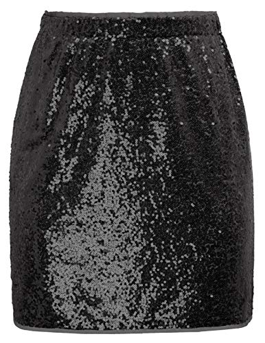 Women's Above Knee Sequin Mini Skirt Party Night Out Bodycon Skirts Black S