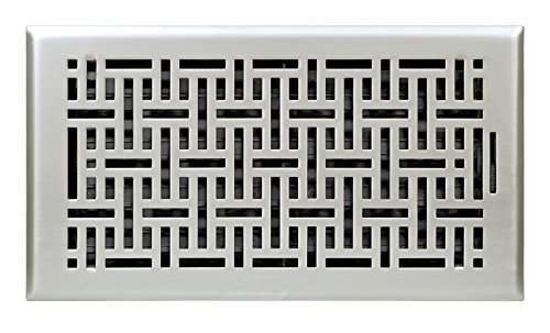 Accord Ventilation AMFRSNB612 Wicker Design Floor Register, Satin Nickel, 6