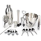 Bar Set, 16 Pieces Bartender Kit Cocktail Bar Set Stainless Steel Cocktail Set includes 24oz Martini Cocktail Shaker, 50oz Ice Bucket, Double Size Jiggers and other Essential Bartending Bar Tools