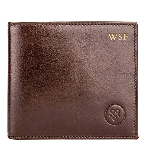 - Maxwell Scott Personalized Men's Premium Leather Billfold Wallet - Vittore Brown